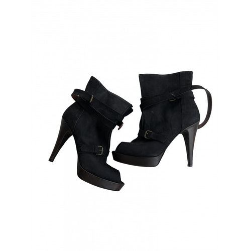 Fiorifrancesi Anthracite Leather Ankle Boots