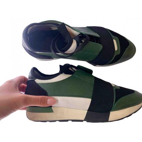 Balenciaga Race Green Leather Trainers