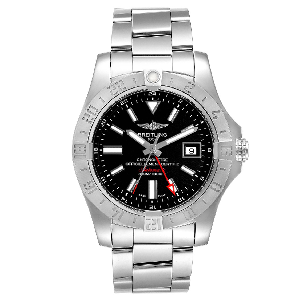 Breitling Aeromarine Avenger Ii Gmt Black Dial Watch A32390 Box In Gray