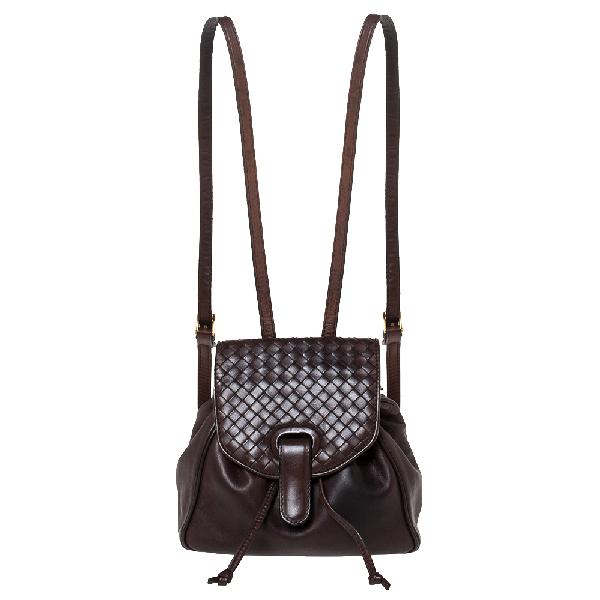 Bottega Veneta Dark Brown Intrecciato Leather Mini Vintage Backpack