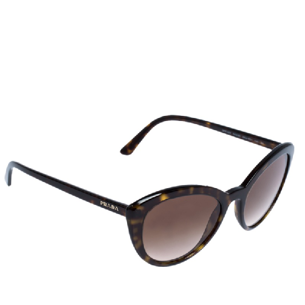 Prada Dark Brown Tortoise Gradient Spr 02v Cat Eye Sunglasses
