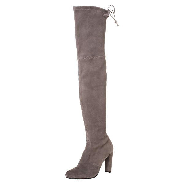 Stuart Weitzman Taupe Suede Highland Thigh High Boots Size 38 In Grey