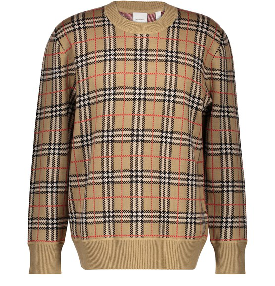 Burberry Banbury Check-pattern Felted Cashmere Sweater In Neutrals