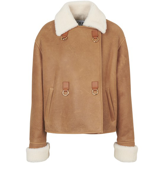 Loewe Cropped Contrast-collar Suede Leather Jacket In Neutrals