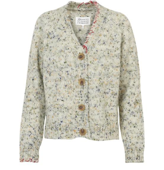 Maison Margiela Wool Cardigan With Contrast Stitch Details In Neutrals