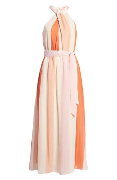 Julia Jordan Stripe Twist Halter Neck Maxi Dress In Beige Mult