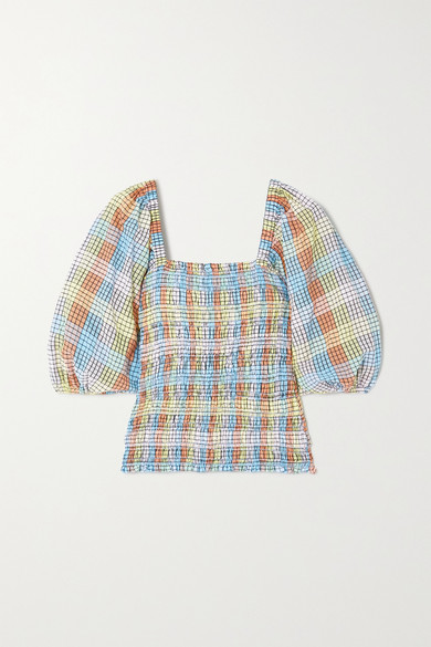 Ganni Balloon-sleeve Checked Cotton-blend Seersucker Top In Light Blue