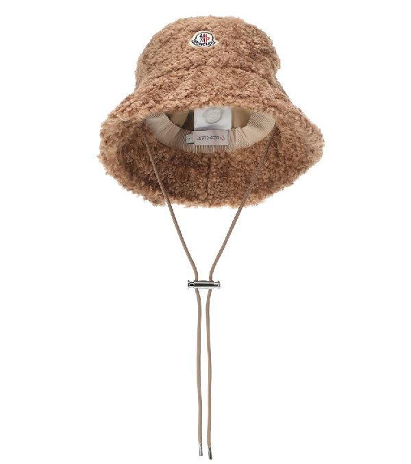 Moncler Toggle Ties Faux-shearling Bucket Hat In Brown