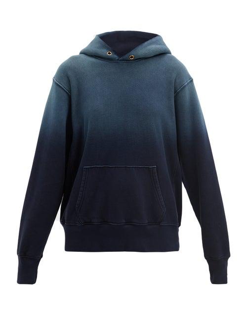 Les Tien Ombré Brushed-back Cotton Hooded Sweatshirt In Navy