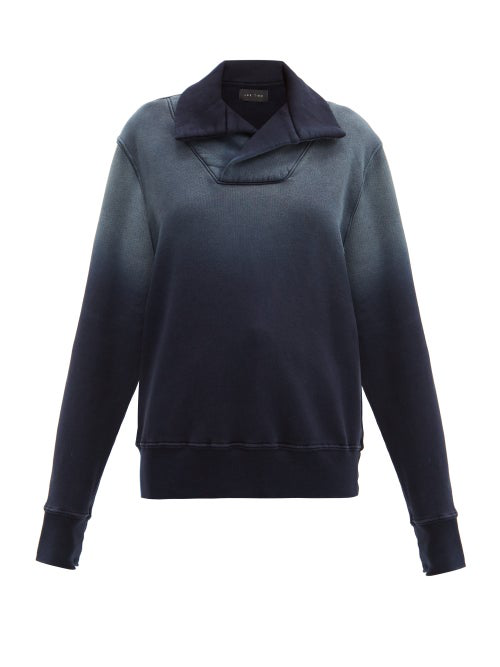 Les Tien Yacht Ombré Brushed-back Cotton Sweatshirt In Navy