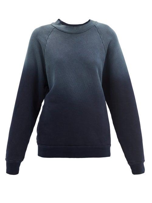 Les Tien High-neck Ombré Brushed-back Cotton Sweatshirt In Navy