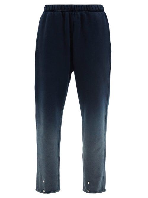 Les Tien Snap-front Ombré Brushed-back Cotton Track Pants In Navy