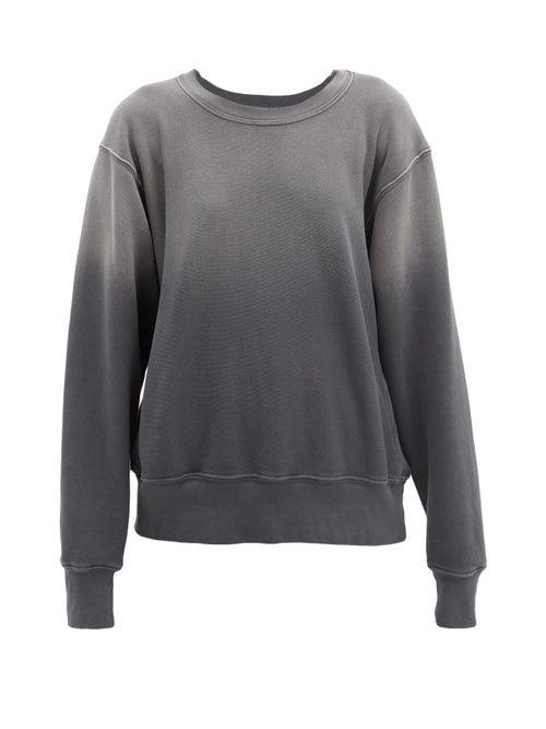 Les Tien Ombré Brushed-back Cotton Sweatshirt In Black