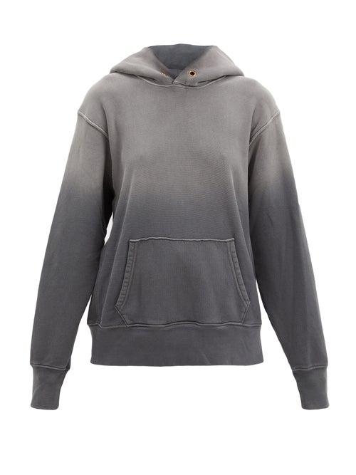 Les Tien Ombré Brushed-back Cotton Hooded Sweatshirt In Black