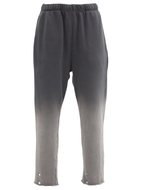 Les Tien Snap-front Ombré Brushed-back Cotton Track Pants In Black