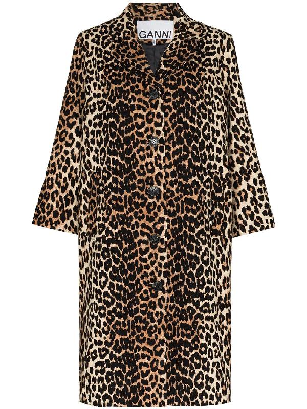 Ganni Single-breasted Leopard-print Linen-blend Coat In Brown