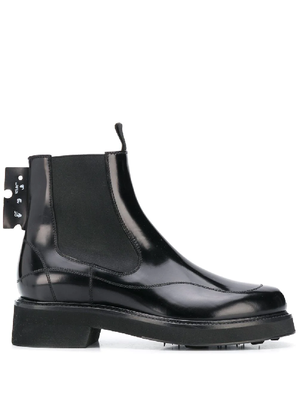 Off-white Leather Chelsea Ankle Boots In Black