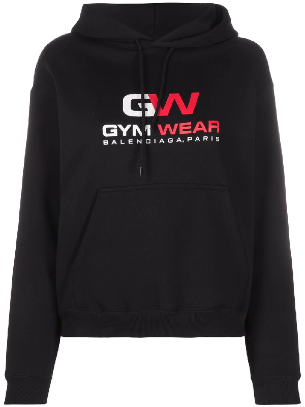 Balenciaga Gym Wear Cotton-jersey Hooded Sweatshirt In Black