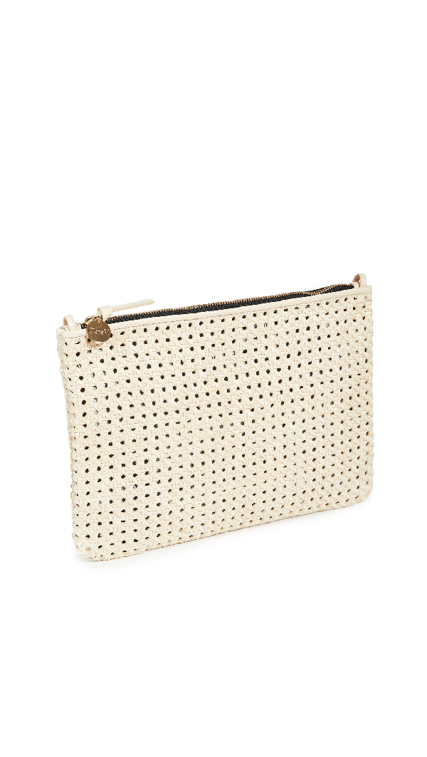 Clare V Flat Clutch With Tabs In Rattan Cream