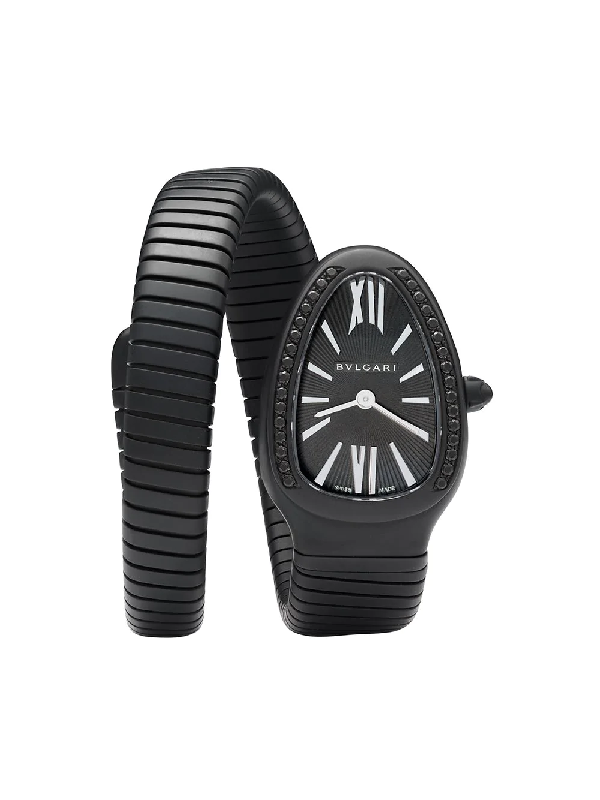 Mad Paris Customised Bvlgari Serpenti Tubogas 35mm In Black