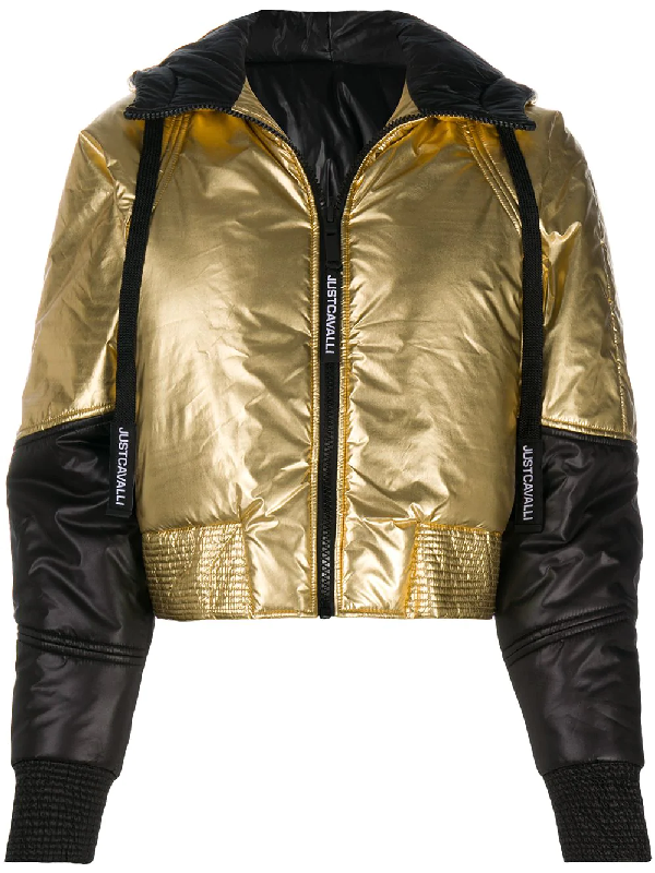 Just Cavalli Contrast-panel Hooded Puffer Jacket In Gold