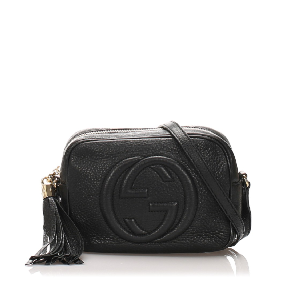 Gucci Leather Soho Disco Crossbody Bag In Black