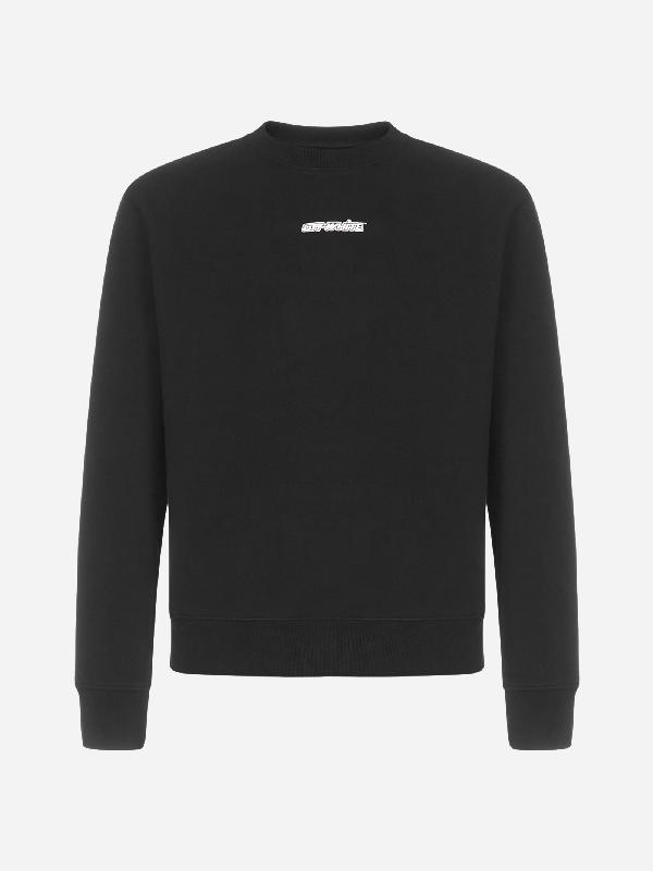 Off-white Marker Arrows Oversized Cotton Sweatshirt In Black