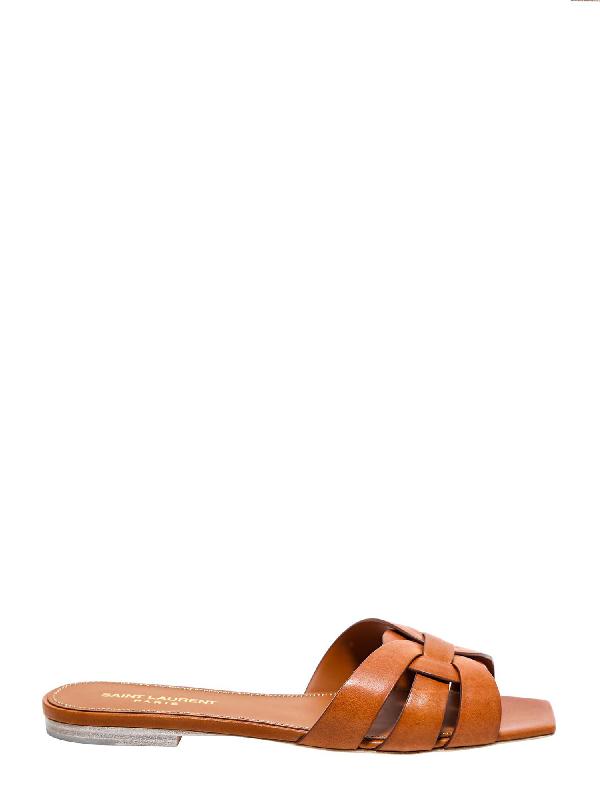Saint Laurent Flat Sandals In Marrone