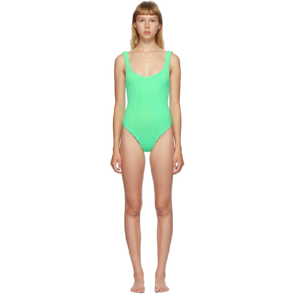Hunza G Green Classic Square Neck One-piece Swimsuit In New Lime