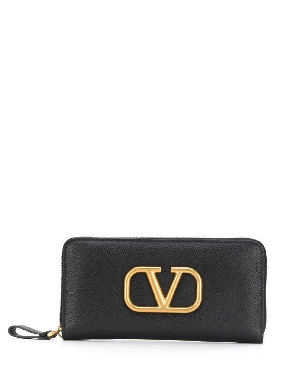 Valentino Garavani Vlogo Zipped Wallet In Black
