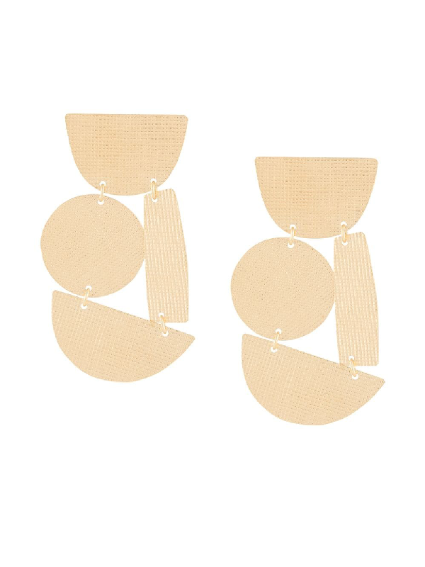Annie Costello Brown Geometric Shapes Oversized Earrings In Gold