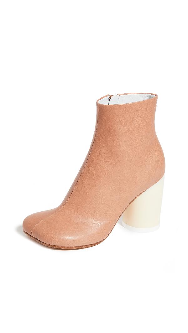 Mm6 Maison Margiela Square Toe Ankle Boots In Sandstorm