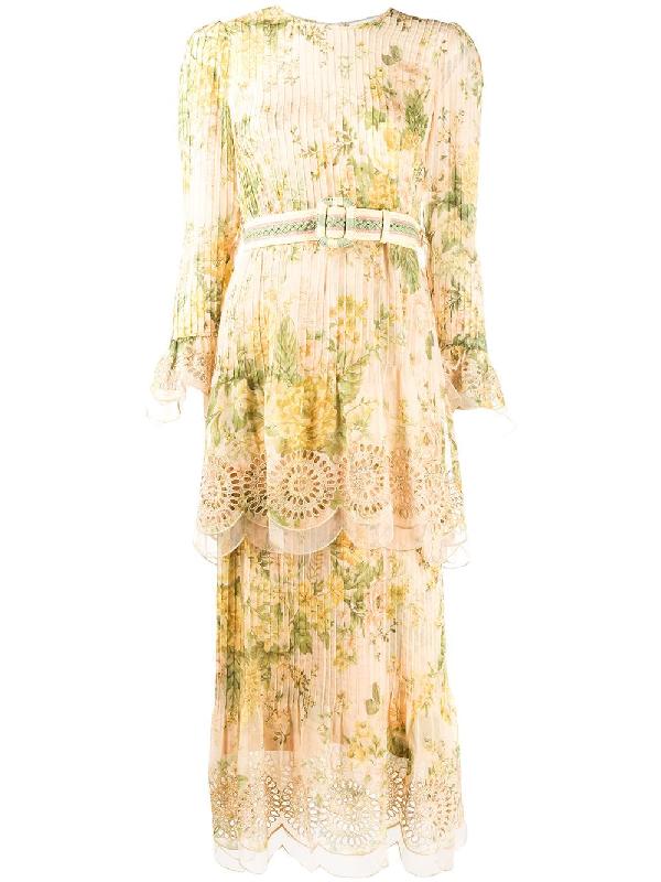 Zimmermann Tiered Floral Print Midi Dress In Neutrals