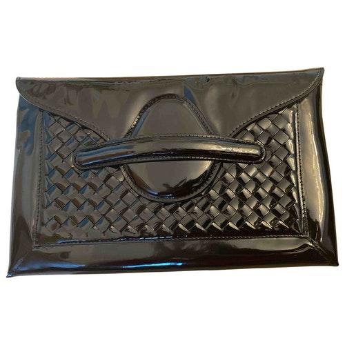 Bottega Veneta Black Patent Leather Clutch Bag
