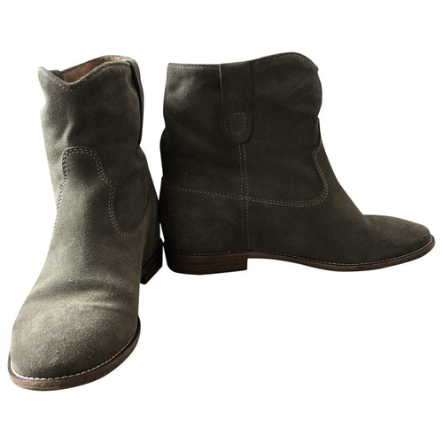 Isabel Marant Crisi  Green Suede Ankle Boots