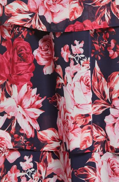 Julia Jordan Floral Tiered Chiffon Midi Dress In Navy/ Multi