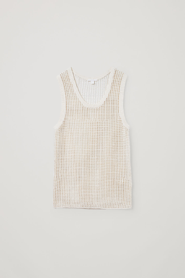 Cos Knitted Paper Vest Top In White