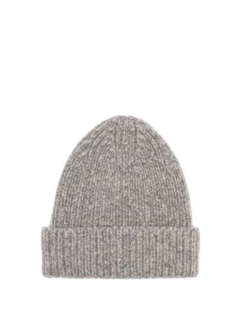 Acne Studios Kabelo Ribbed Wool-blend Beanie Hat In Grey