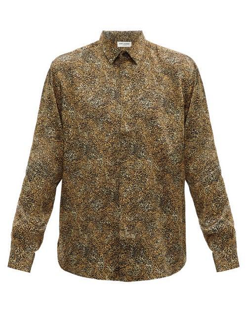 Saint Laurent Leopard Print Silk Button-up Shirt In Yellow