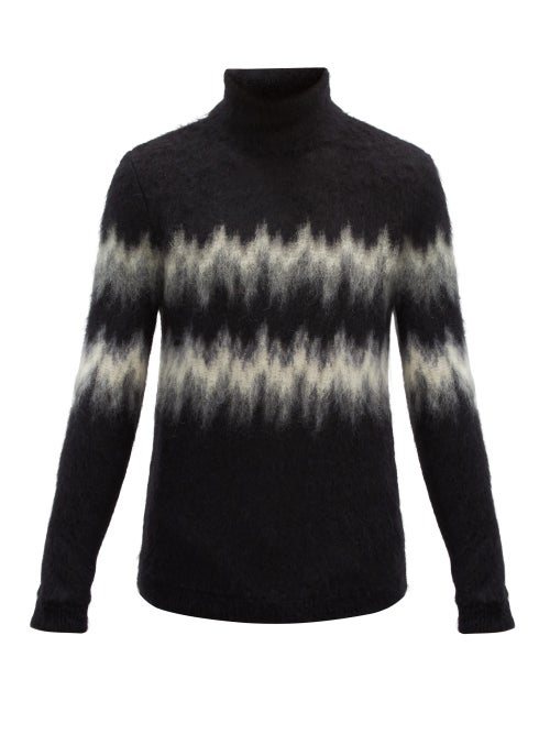 Saint Laurent High-neck Zigzag-intarsia Mohair-blend Sweater In Black Grey
