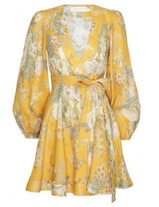 Zimmermann Amelie Long Sleeve Floral Linen Wrap Dress In Print