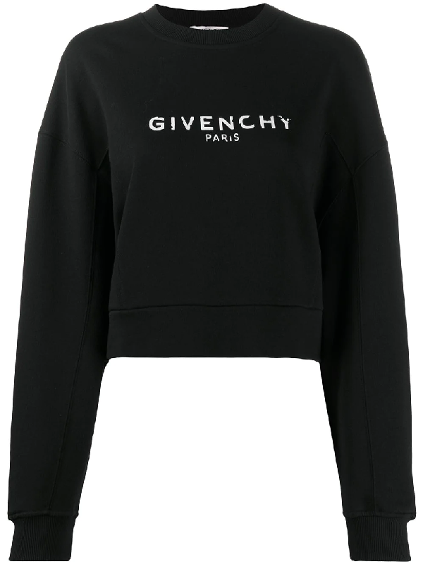 Givenchy Oversized Distressed-logo Cotton-jersey Sweatshirt In Black