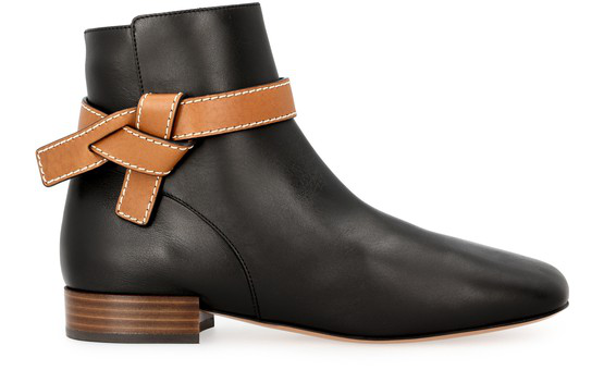 Loewe Gate Leather Ankle Boots In Black