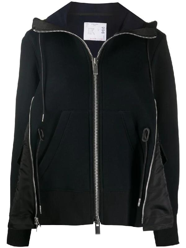 Sacai Zip-front Expansion Panel Hoodie In Black