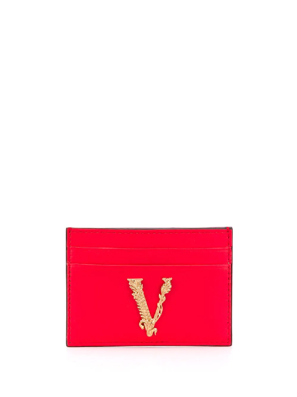 Versace V Plaque Cardholder In 红色