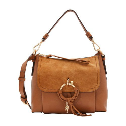 See By ChloÉ Leather And Suede Joan Shoulder Bag In Caramello