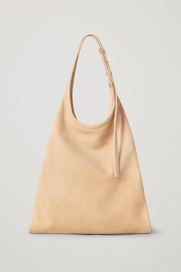 Cos Leather Shopper Bag In Beige