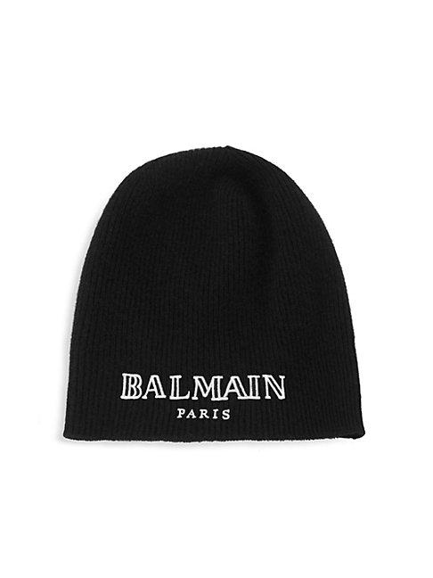 Balmain Logo Embroidered Beanie In Black