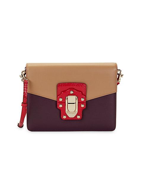 Dolce & Gabbana Studs & Buckle Shoulder Bag In Brown