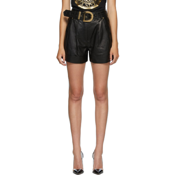 Balmain High-waisted Belted Leather Shorts In 0pa Black